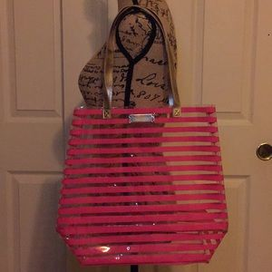 Victoria Secret clear and pink stripped tote